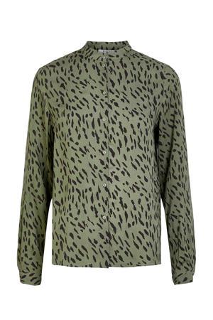 blouse met all over print groen/zwart