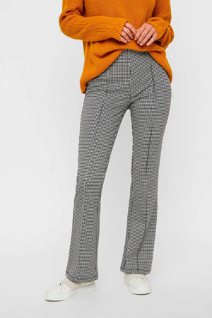 geruite regular fit pantalon zwart/wit
