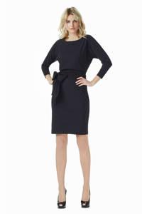 LaDress travelstof jurk Caroline met ceintuur zwart, Zwart