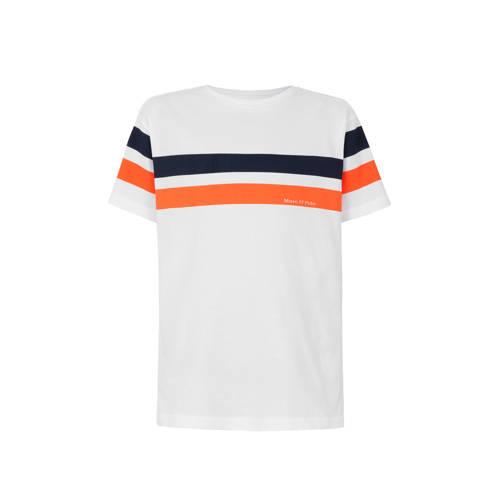 Marc O'Polo gestreept T-shirt wit/oranje/donkerbla