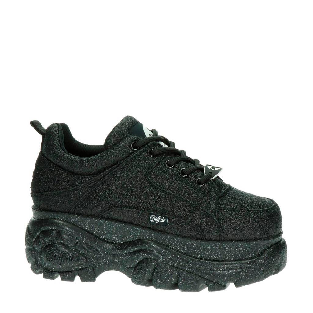 Buffalo London Black Glitter  leren chunky sneakers zwart, Zwart