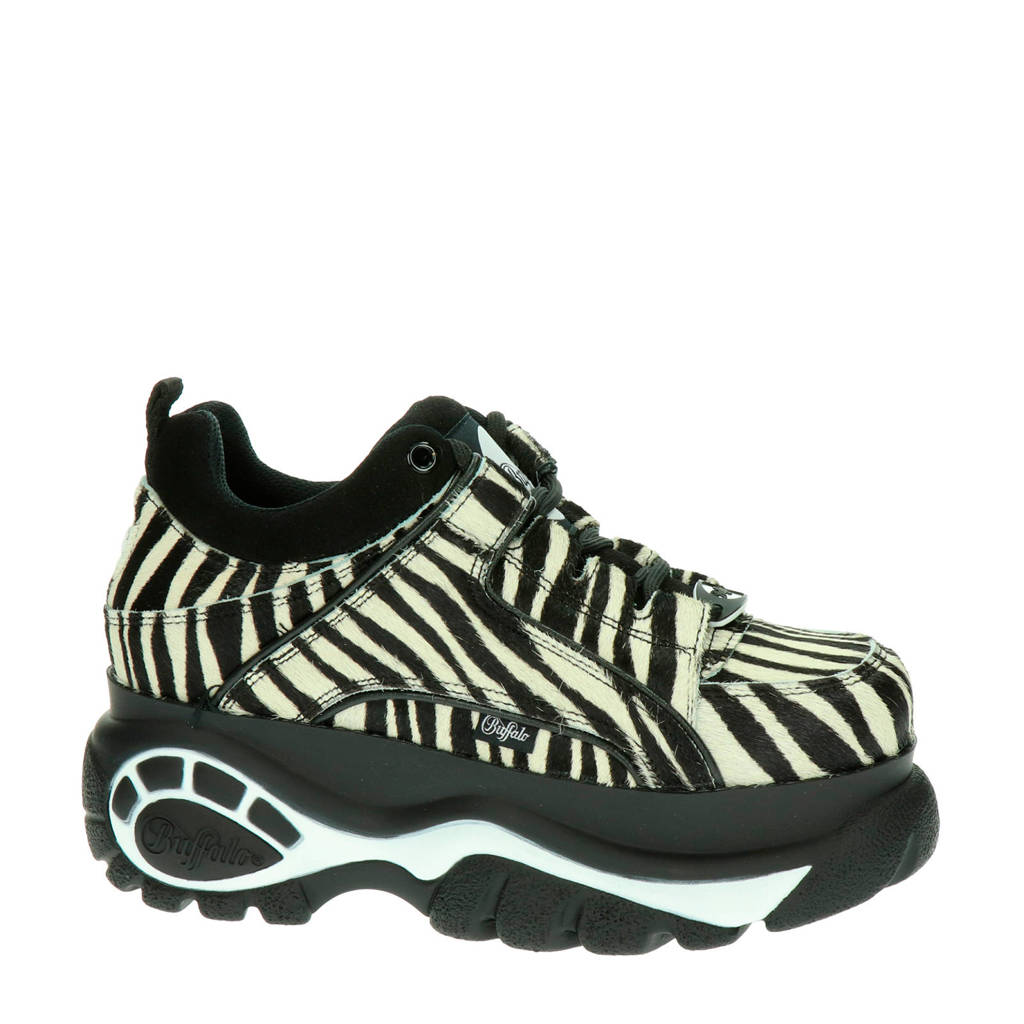 Buffalo   chunky dad sneakers zebraprint, Zwart/wit