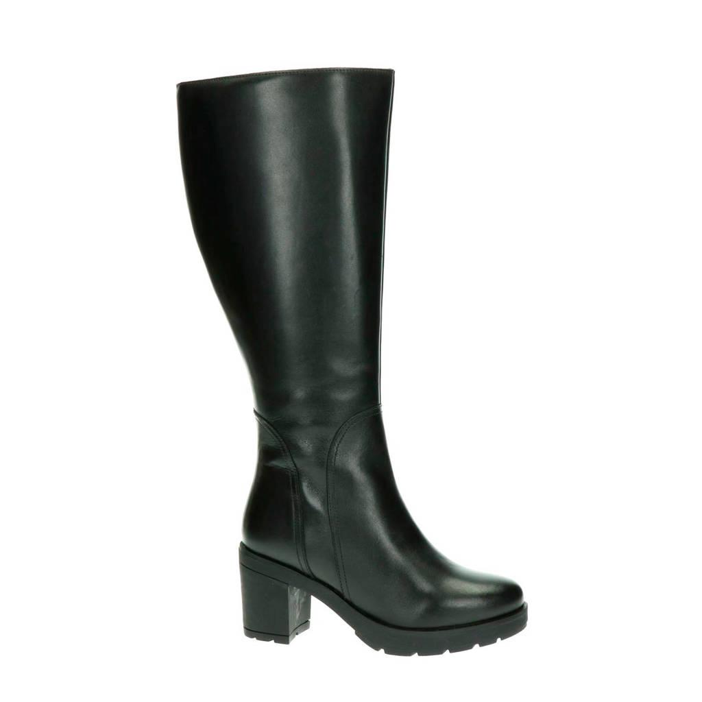 JJ Footwear Bredon XL-schacht leren laarzen zwart, Zwart