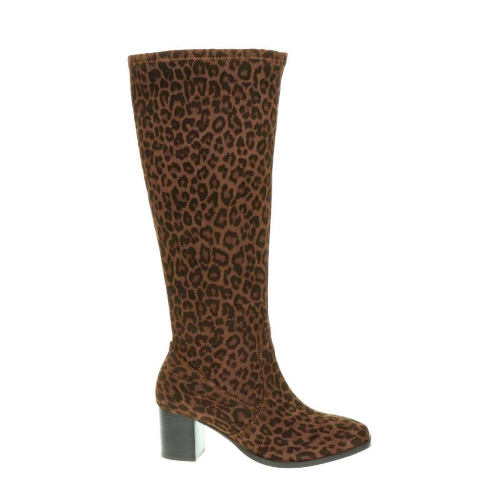 JJ Footwear Rabat XL-schacht laarzen panterprint, Bruin/zwart