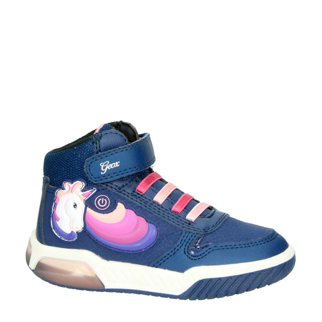 Geox  Inek hoge sneakers met lichtjes blauw/roze, Blauw/roze