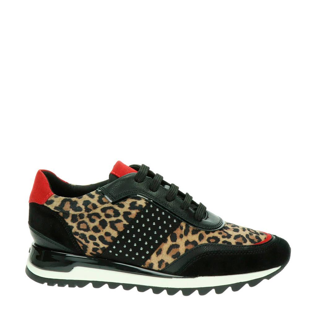 Geox Tabelya  leren sneakers panterprint/zwart, Zwart/multi