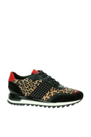 Tabelya  leren sneakers panterprint/zwart