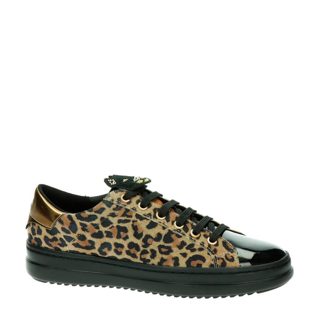 Geox Pontoise comfort leren sneakers panterprint, Bruin/zwart