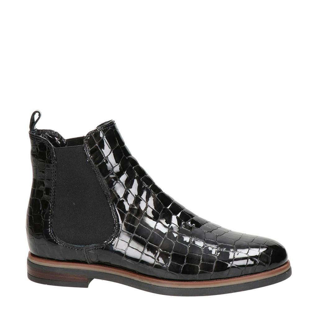 Nelson   lakleren chelsea boots met crocoprint zwart, Zwart