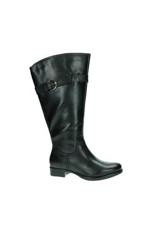 Victoria XXL-schacht leren laarzen zwart