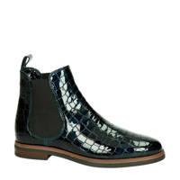 Nelson   lakleren chelsea boots met crocoprint donkerblauw, Donkerblauw