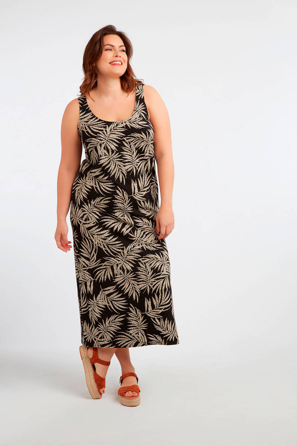MS Mode jersey jurk met bladprint multi grijs-zwart, Multi Grijs-Zwart
