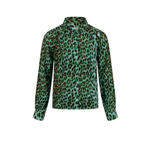 CKS KIDS blouse Indio met panterprint groen/zwart