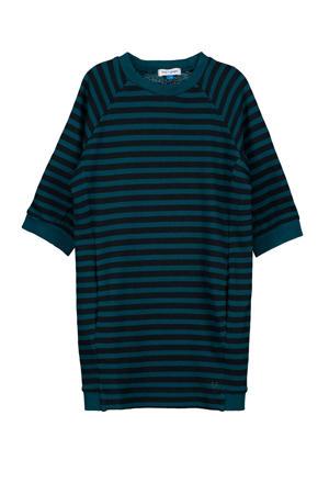 gestreepte T-shirtjurk Maya zwart/blauw