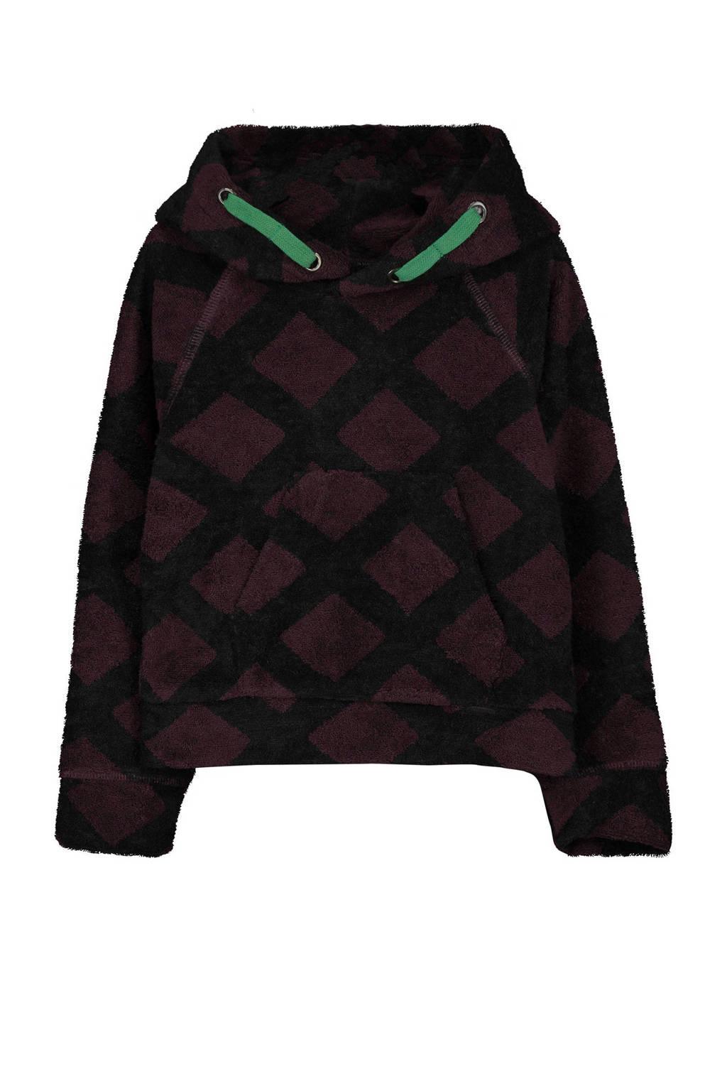 fred + ginger hoodie met grafische print zwart/donkerpaars/groen, Zwart/donkerpaars/groen