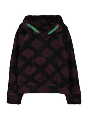 hoodie met grafische print zwart/donkerpaars/groen