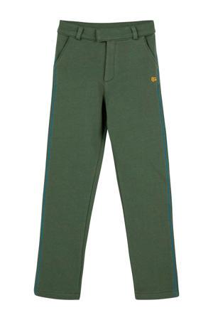 broek met zijstreep en borduursels groen
