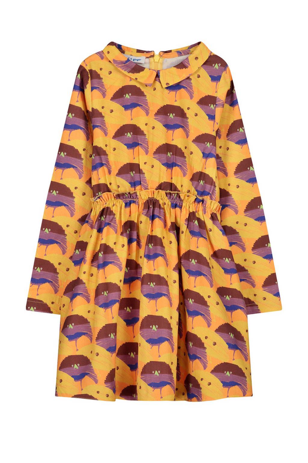 fred + ginger jurk Tinka met all over print oranje/paars/blauw, Oranje/paars/blauw