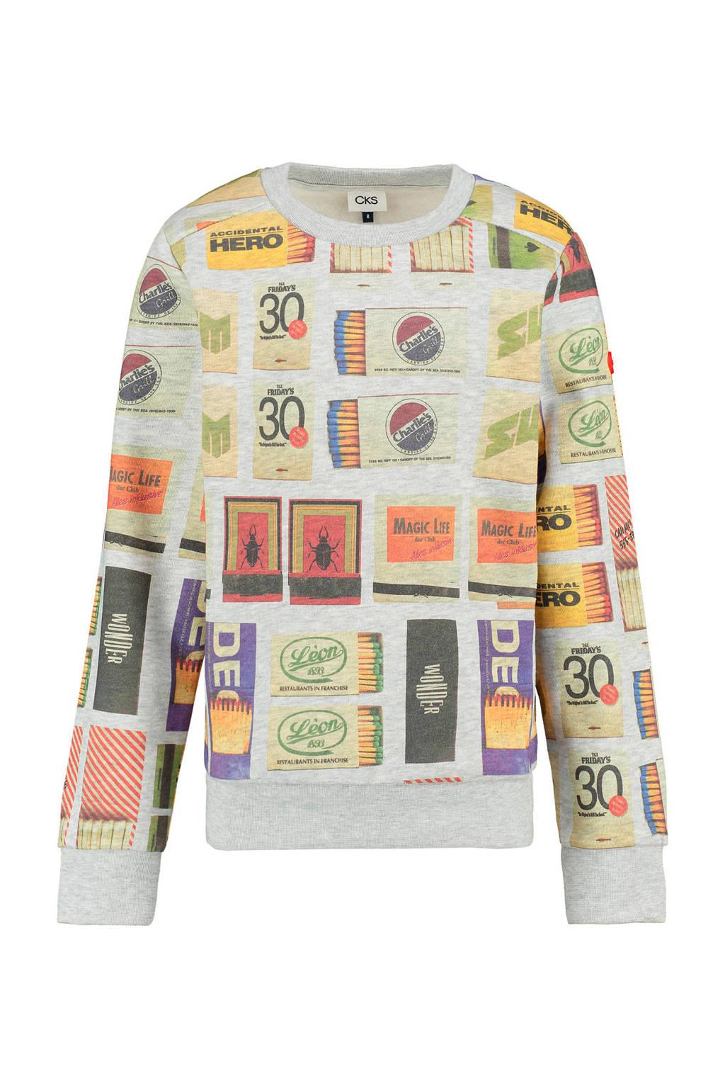 CKS KIDS sweater Brammon met all over print grijs melange, Grijs melange