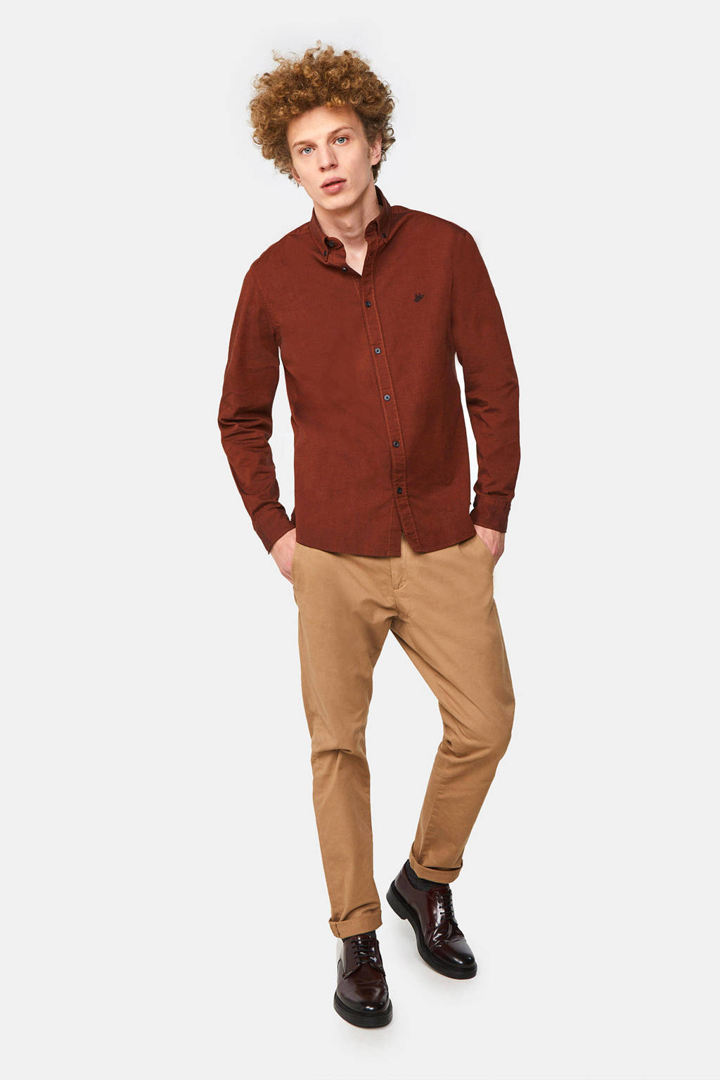 WE Fashion slim fit overhemd arabian spice, Arabian Spice