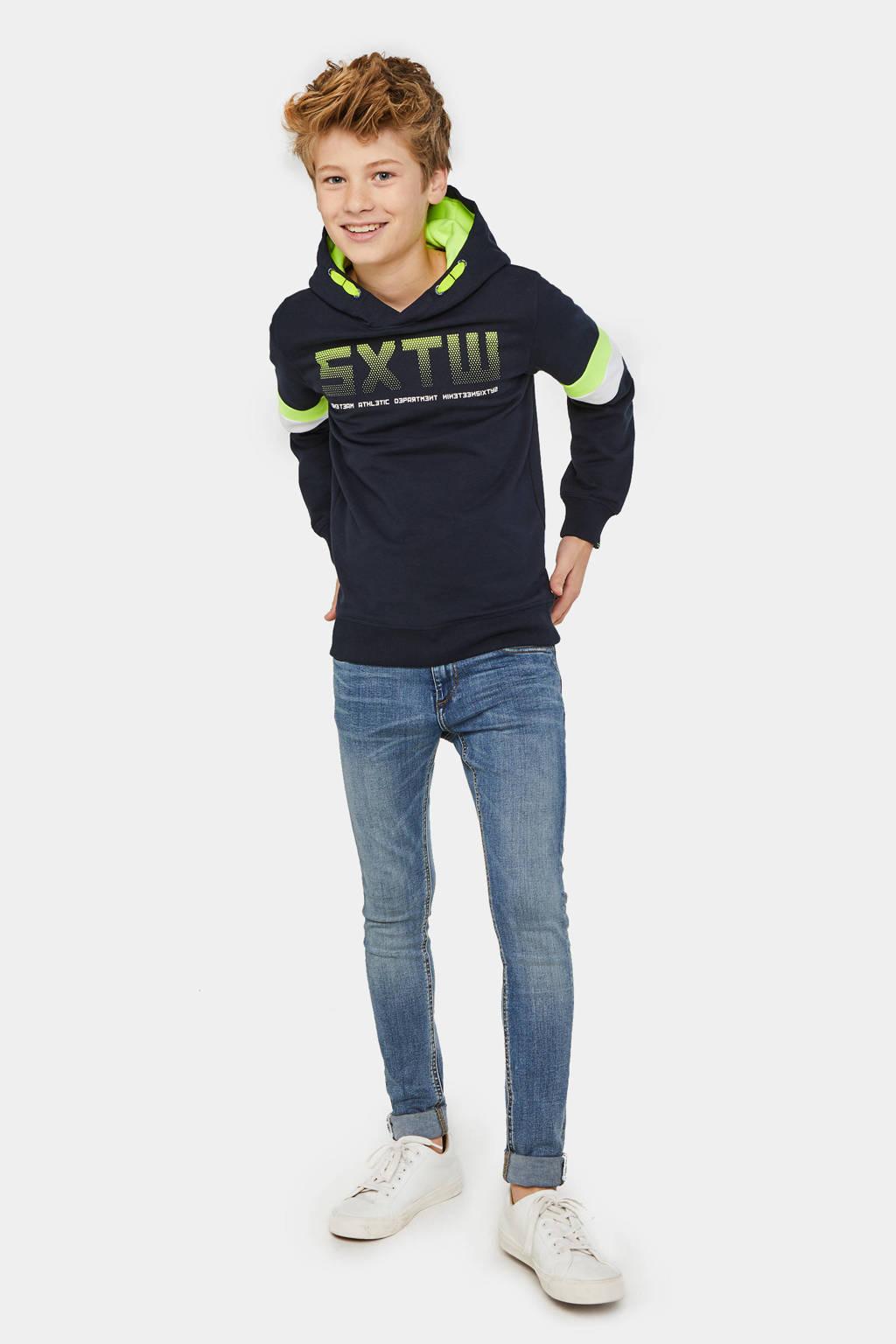 WE Fashion sweater met tekst donkerblauw/groen/wit, Donkerblauw/groen/wit