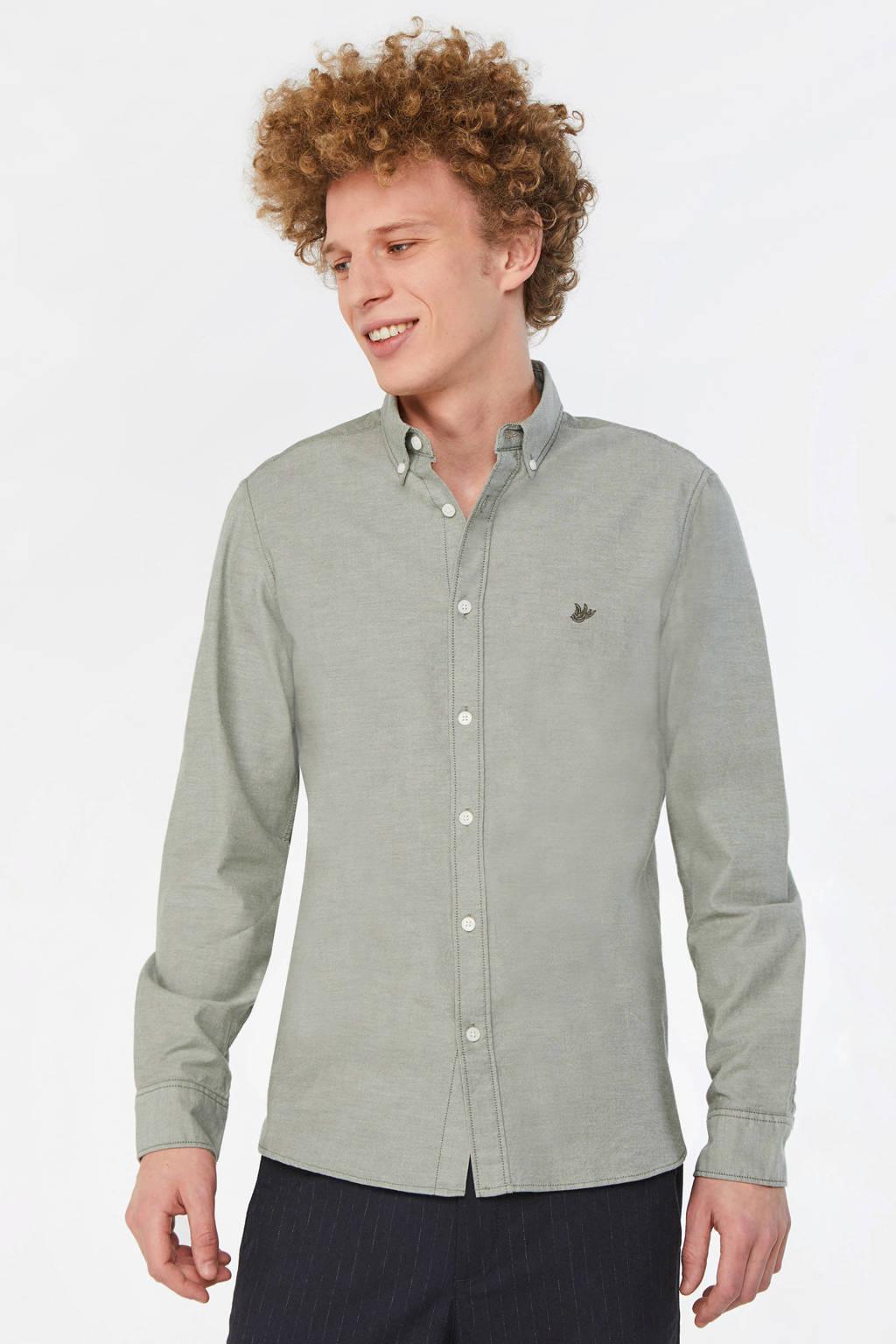 WE Fashion regular fit overhemd met logo grijs, Grijs