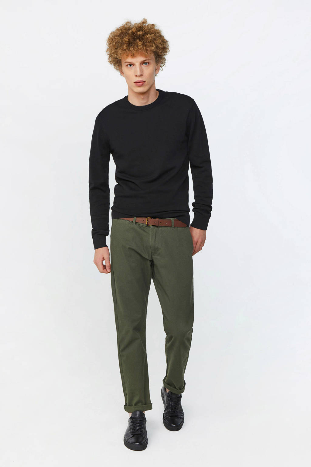 WE Fashion slim fit chino forest night, Forest night