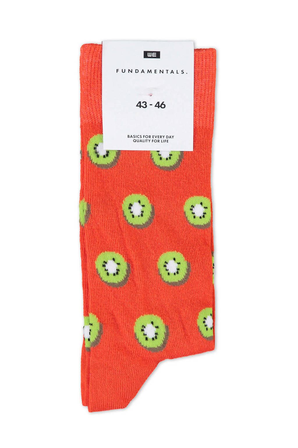 WE Fashion Fundamental oranje sokken met kiwi print, Fire