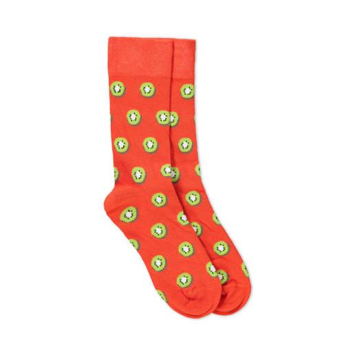 WE Fashion Fundamental oranje sokken met kiwi print