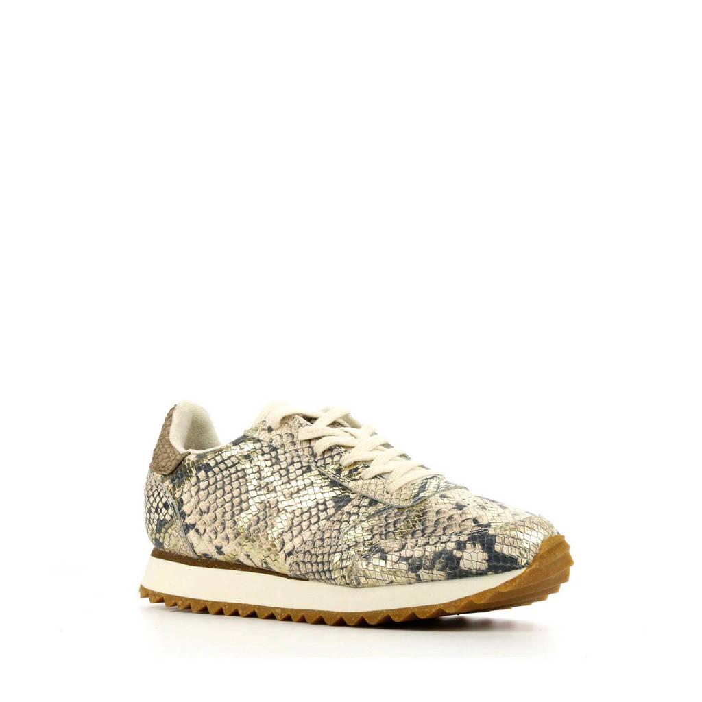 Woden Ydun Snake  leren sneakers slangenprint beige, Beige