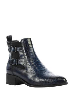 Padua leren chelsea boots crocoprint donkerblauw