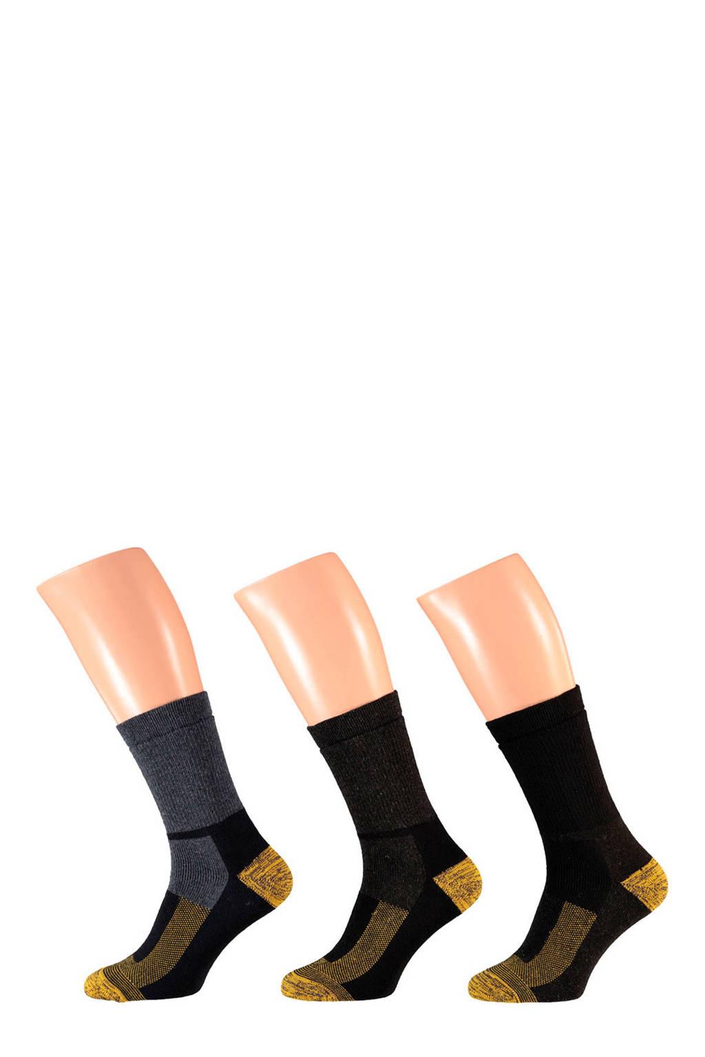Apollo thermo sokken set van 3 paar, Zwart/grijs