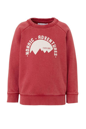 sweater Apex met printopdruk rood/wit