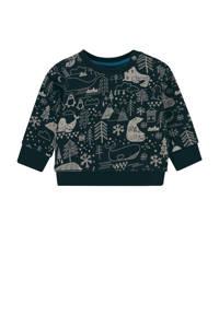 Noppies baby sweater Adams met all over print donkerblauw/grijs, Donkerblauw/grijs