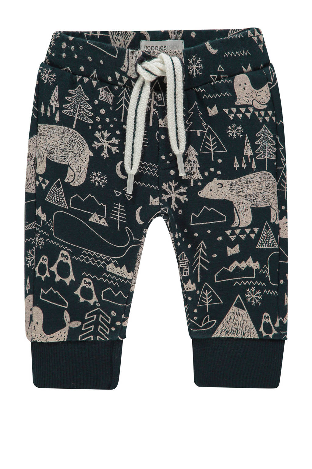 Noppies baby regular fit broek Aiken met all over print donkerblauw, Donkerblauw