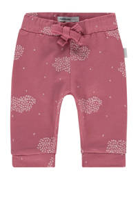 Noppies baby slim fit broek Campbell met all over print oudroze/wit, Oudroze/wit