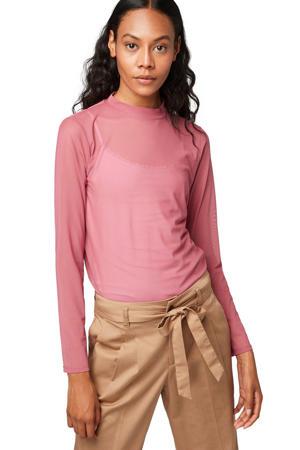 Denim mesh T-shirt roze