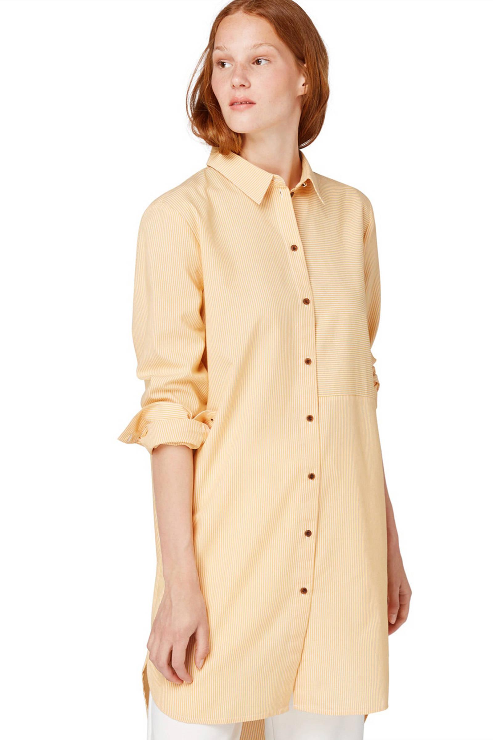 Tom Tailor Denim gestreepte blouse geel   wehkamp