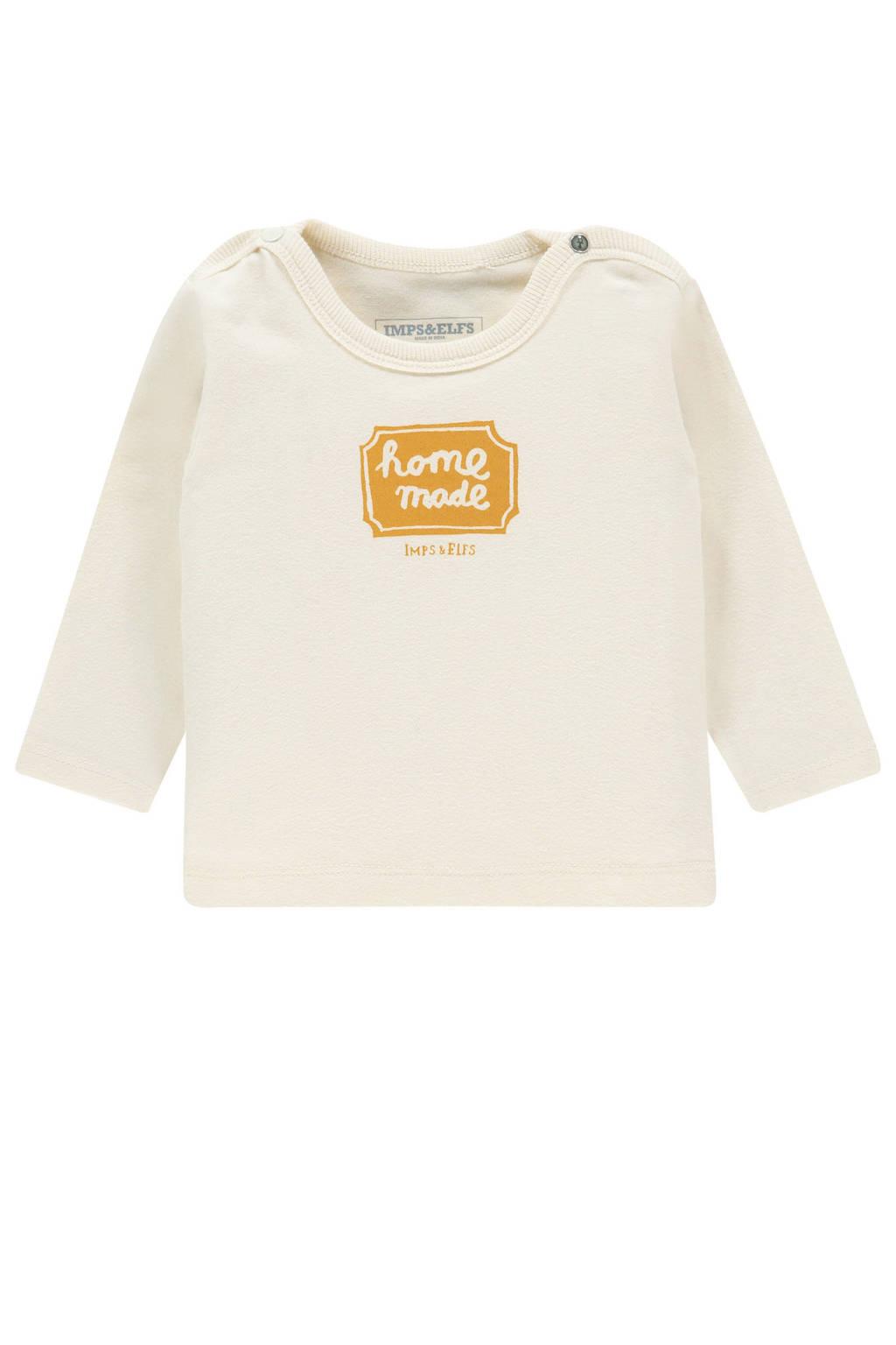 IMPS&ELFS baby longsleeve Ambleside met printopdruk ecru, Ecru