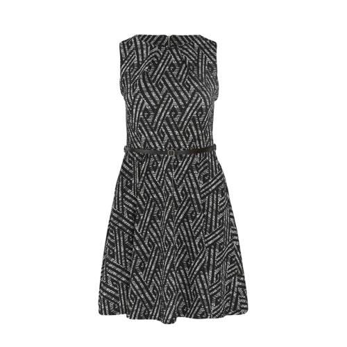 Paprika A lijn jurk met all over print en ceintuur zwart