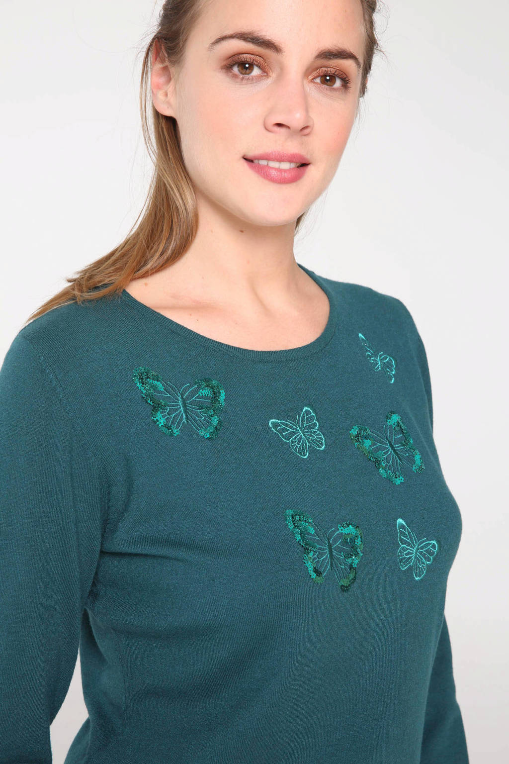 Cassis fijngebreide trui met borduursels groen, Groen