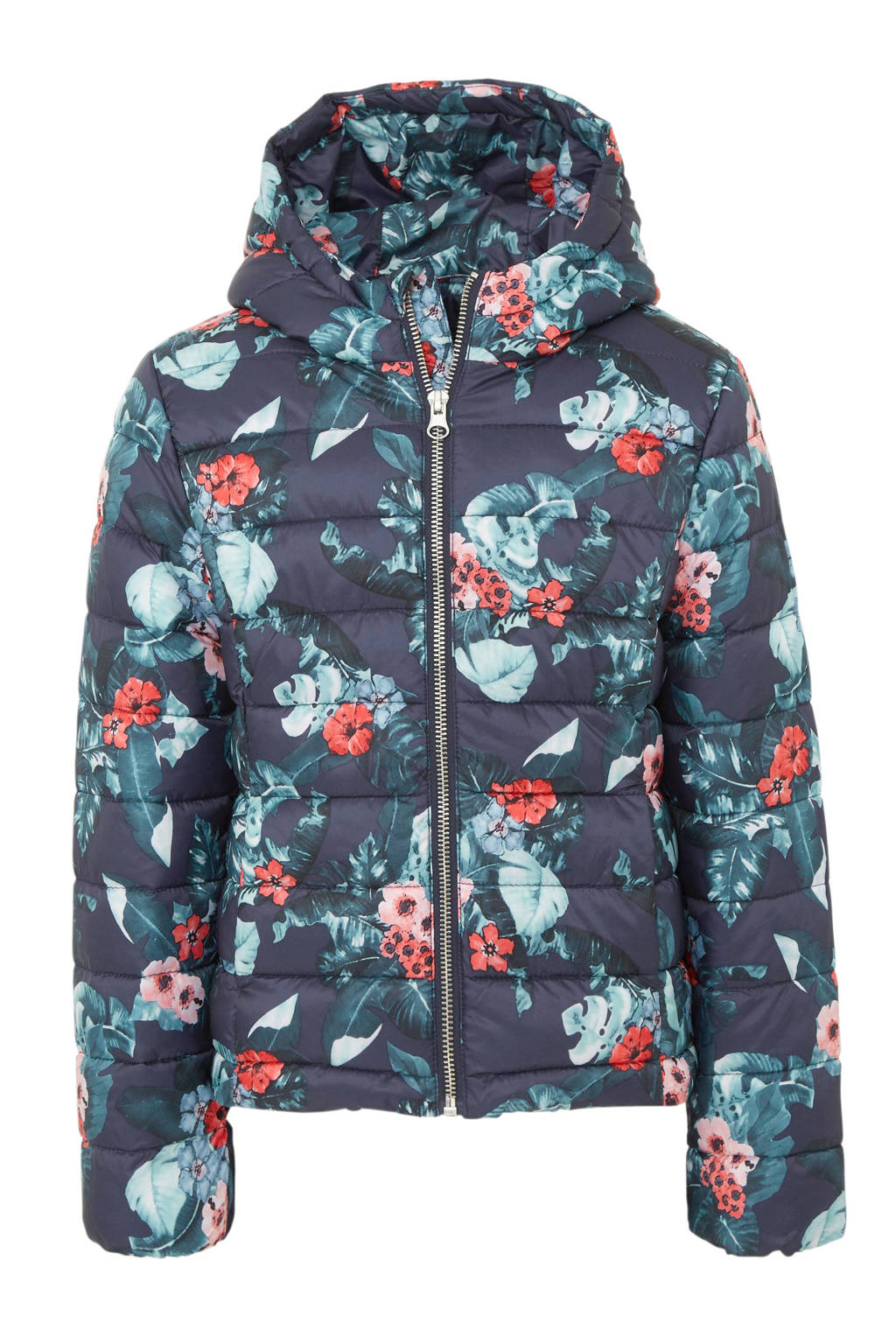 C&A Here & There gebloemde winterjas donkerblauw, Donkerblauw
