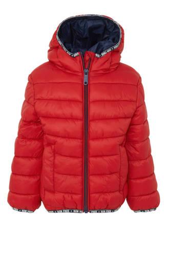 Palomino winterjas met contrastbies en contrastbies rood