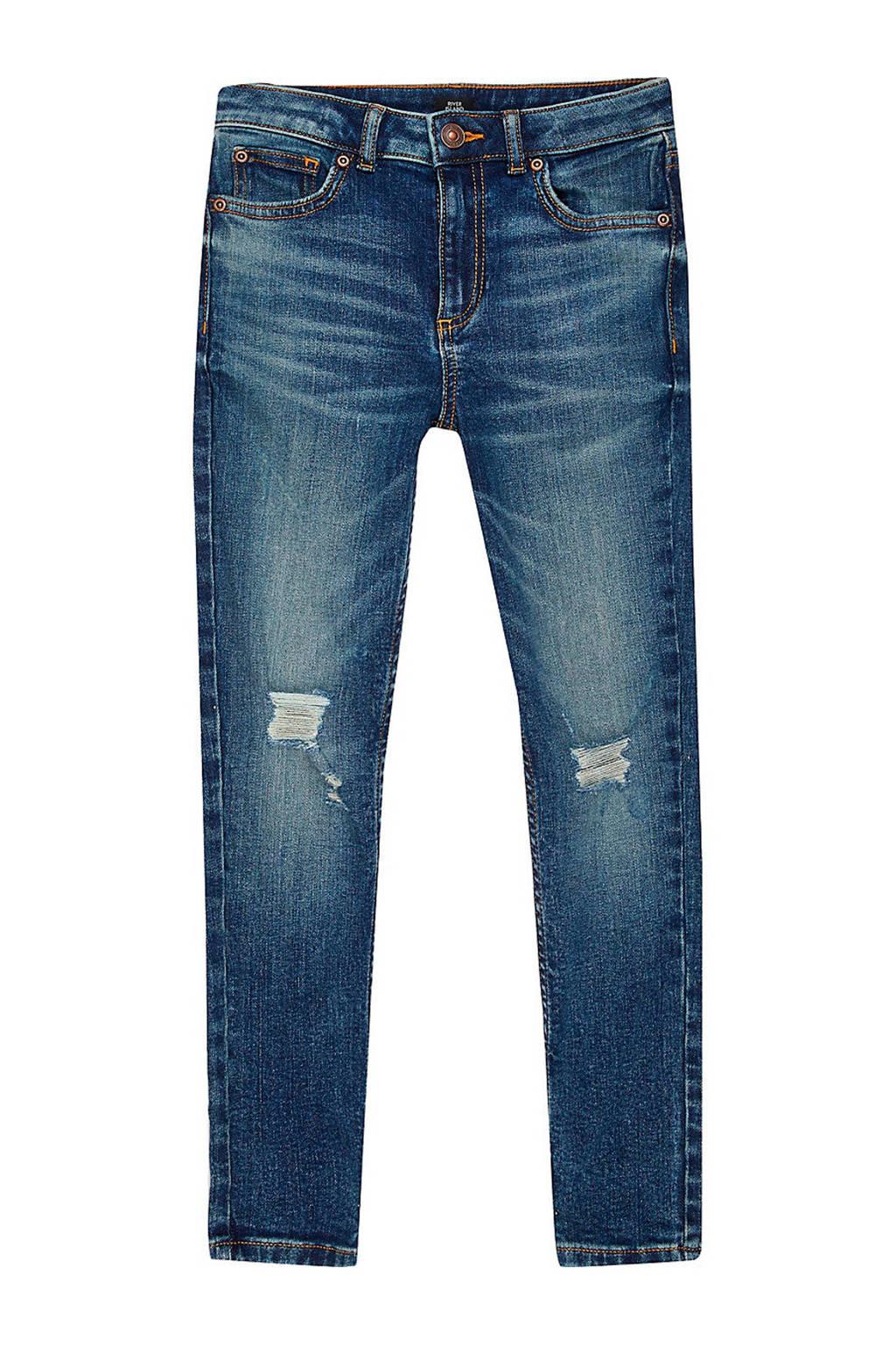 River Island skinny jeans Sid Arthur met slijtage stone, Stone