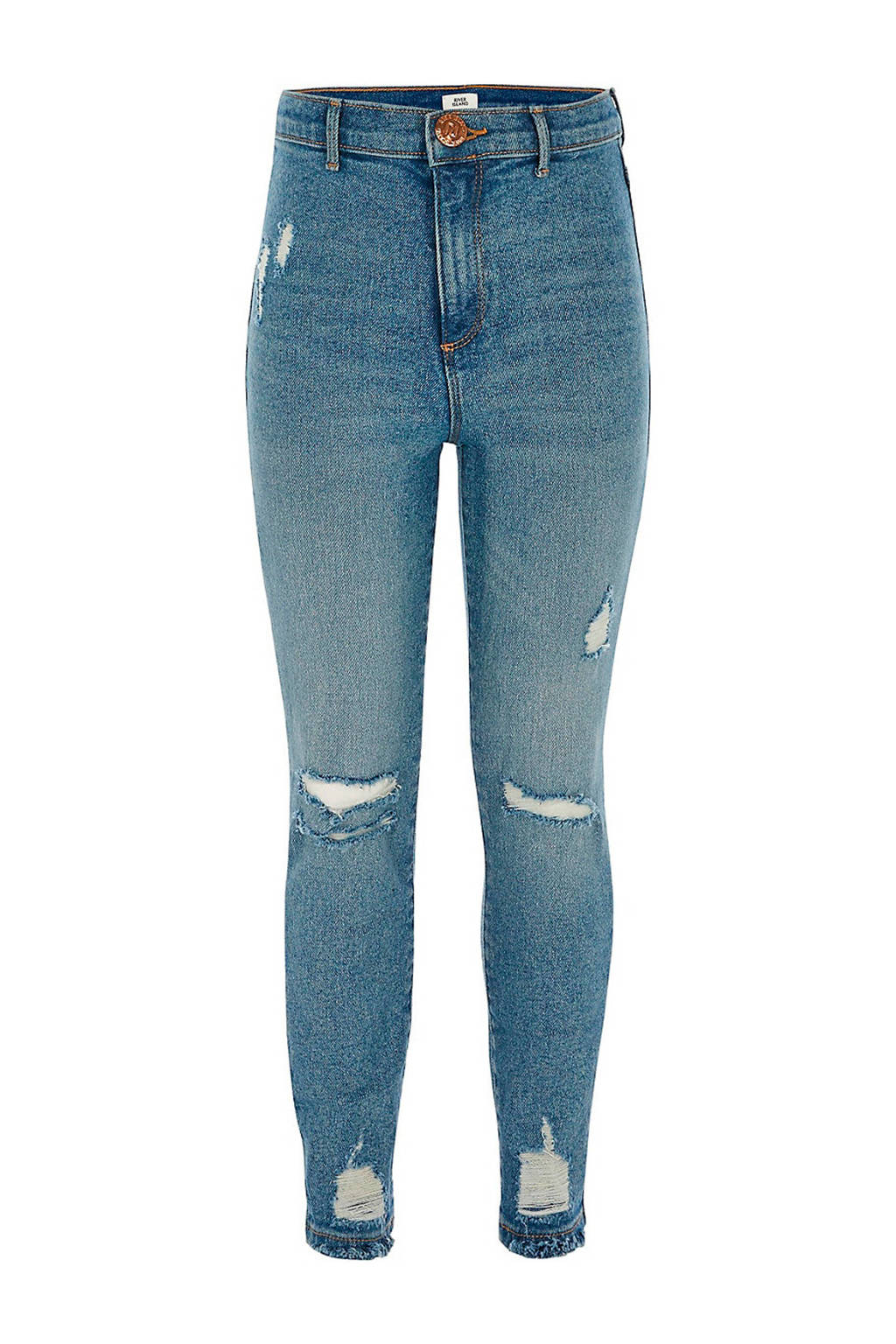 River Island super skinny jeans met slijtage light denim, Light denim