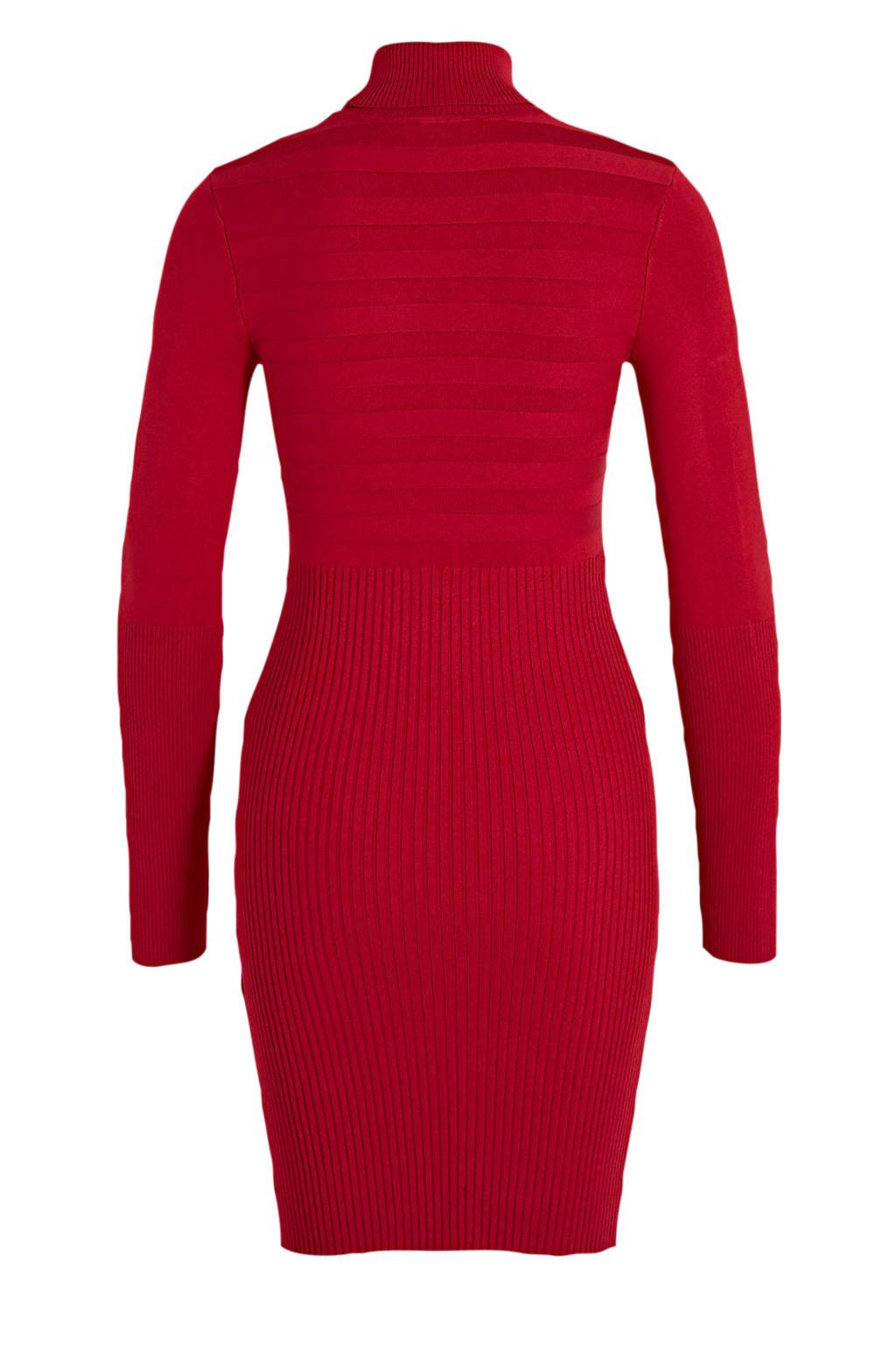 Morgan jersey jurk rood, Roodroze