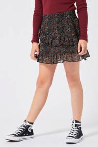America Today Junior gebloemde rok Ruby zwart/rood/groen, Zwart/rood/groen