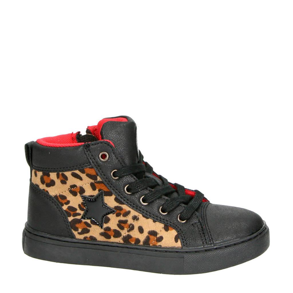 Nelson Kids   sneakers zwart/panterprint, Zwart/bruin