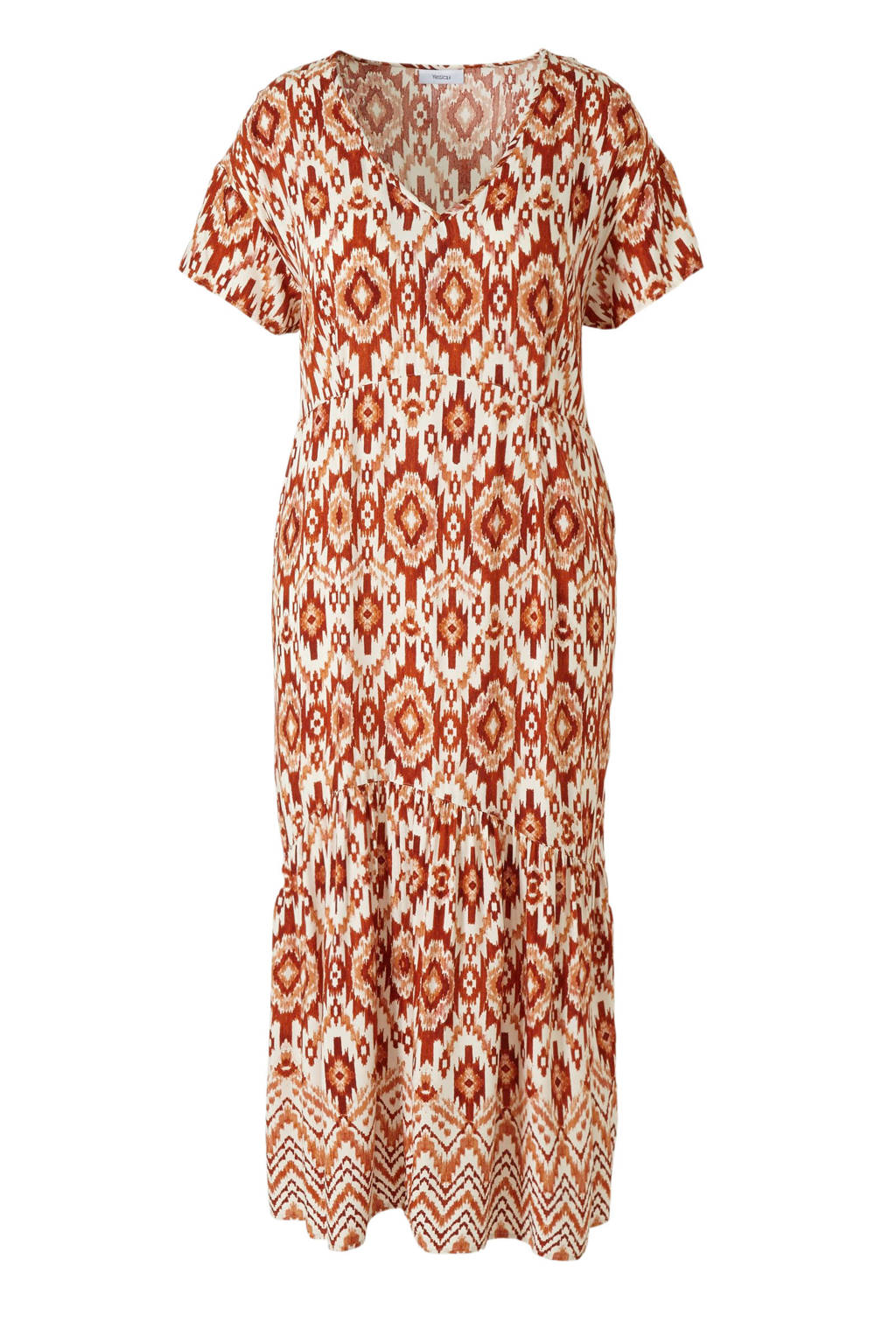 C&A XL Yessica jurk met grafische print oranje/wit, Oranje/wit