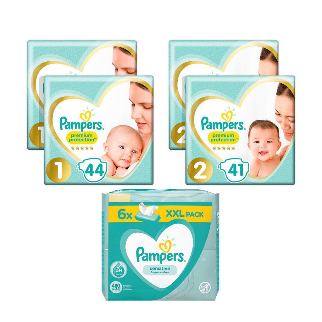 Pampers Premium Protection starterspakket maat 1+2 (2-8 kg) 170 luiers + 480 Sensitive babydoekjes (6 x 80)